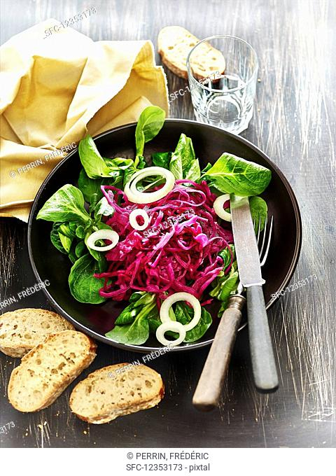 Lacto fermented red cabbage with onion bread