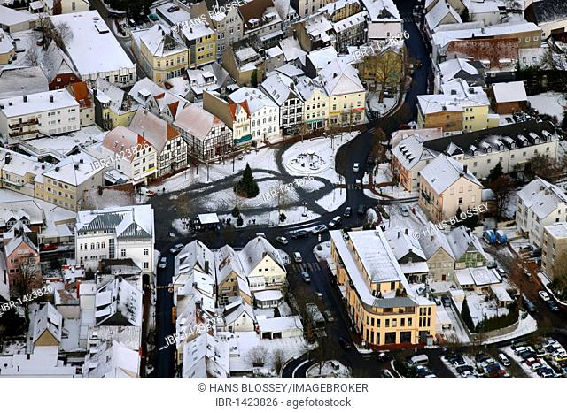 Aerial view, market place, city center, Kamen, Ruhrgebiet region, North Rhine-Westphalia, Germany, Europe