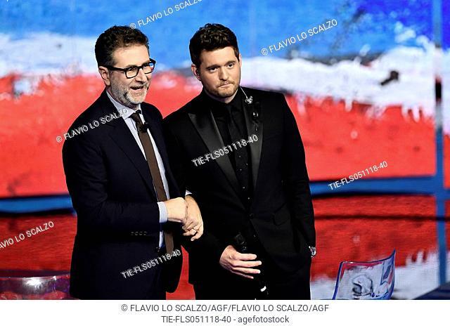 Tv presenter Fabio Fazio, the singer Michael Buble' during the tv show Che tempo che fa, Milan, ITALY-04-11-2018
