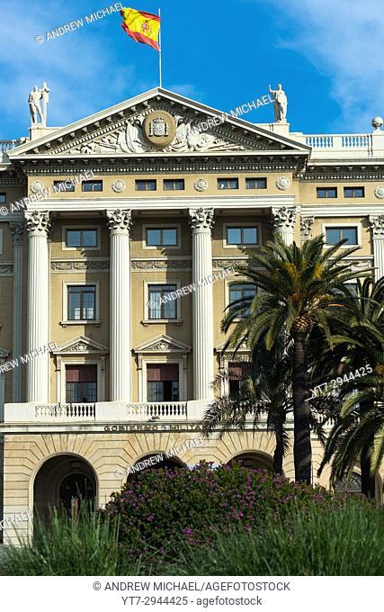 Gobierno Militar building at the lower part of Las Ramblas, Barcelona, Spain