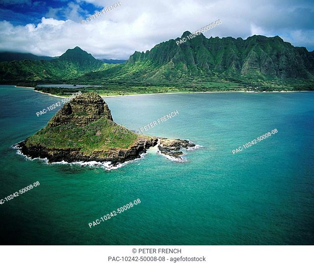 Hawaii, Windward Oahu, Kaneohe Bay, Aerial of Mokoli'i Island Chinaman's Hat and Koolau Mountains, View from ocean