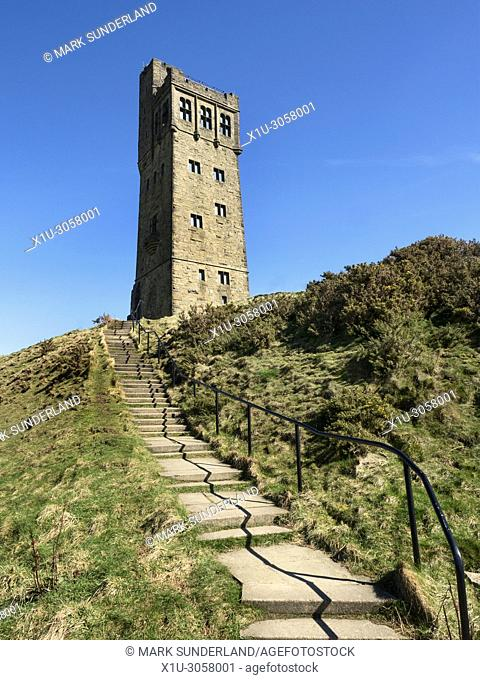 The Victoria Tower on the Hilltop at Castle Hilll near Huddersfield West Yorkshire England