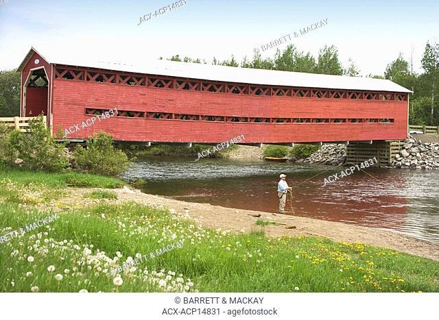 Salmon Fishing at Heppell covered bridge, Matapedia River, Quebec, Canada MR