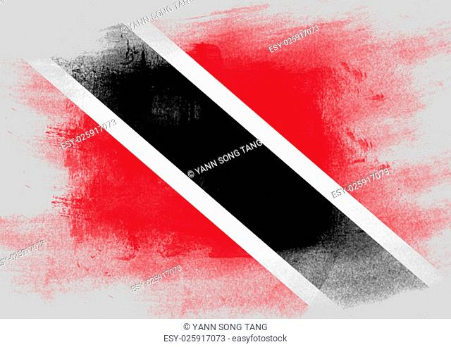 Flag of Trinidad and Tobago painted with brush on solid background