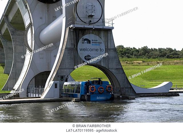 The Falkirk Wheel,the rotating boat lift structure was built and opened in 2002 to provide a new link between the Forth & Clyde canal and the Union Canal...