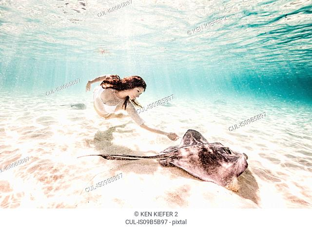 Female free diver swimming with stingray on seabed