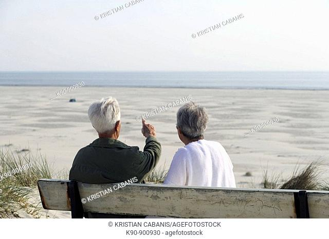 Elderly couple sitting on a bench, seen from backside, looking over the wide beach with the sea in the background and the senior man pointing with his finger