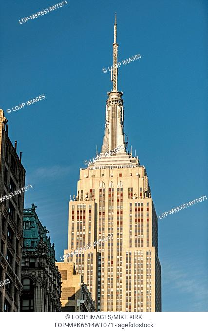 Empire State Building with detail of observation decks and antenna
