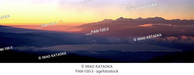Lake Suwako and Southern Alps, Nagano, Japan
