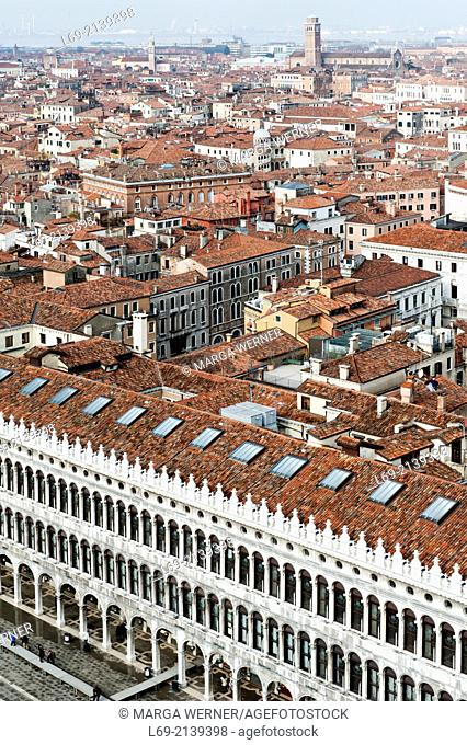 Venice from above with St. Mark's Square an Procuratie, Veneto, Italy