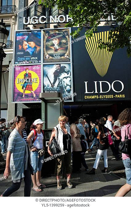 Paris, France, Crowd Walking on, Avenue Champs-Elysees, Outside French Cinema and Lido Theatres