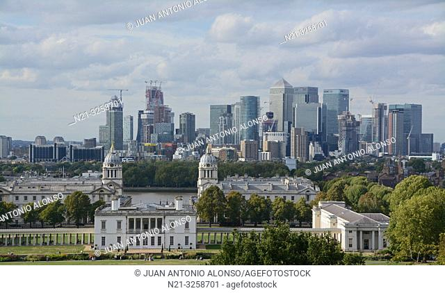 Canary Wharf business area and the National Maritime Museum from the Greenwich Observatory. London, England, Great Britain