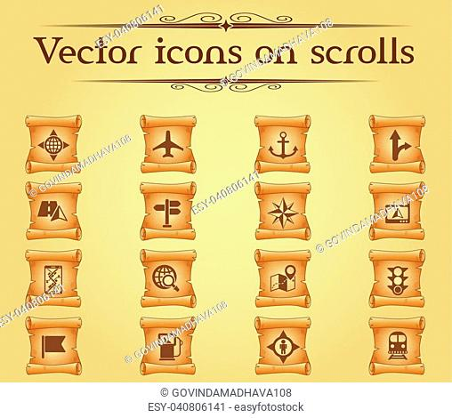 navigation vector icons on scrolls for your creative ideas