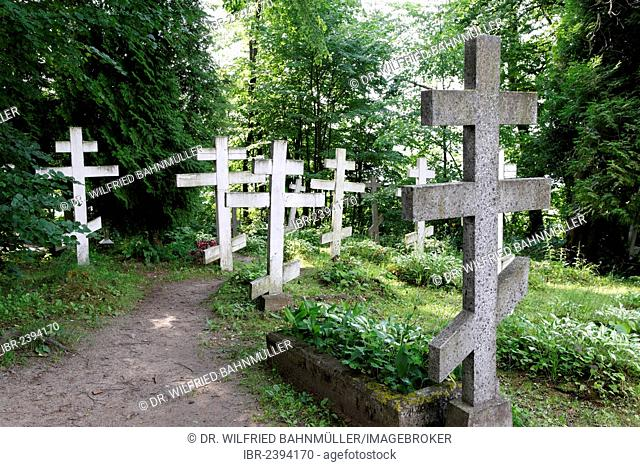 Cemetery of the former Russian Orthodox nunnery, Wojnowo or Eckertsdorf, Ruciane-Nida, Masuria, Poland, Europe