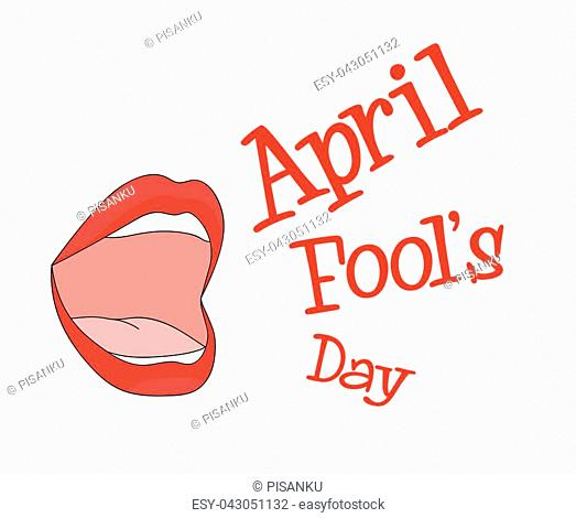 Mouth Speak April Fools Day Background Vector Image