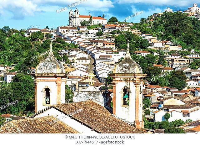 View over Santa Efigenia and Nossa Senhora do Conceiçao Churches, Ouro Preto, Minas Gerais, Brazil