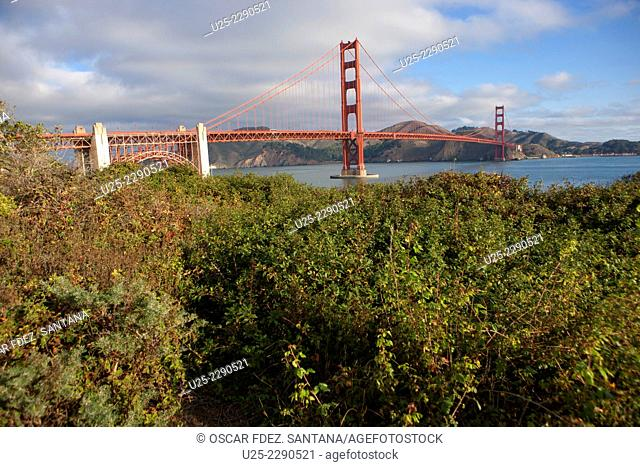 Golden Gate Bridge from Battery Park, San Francisco, California, USA