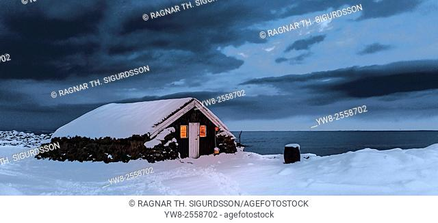 Farmhouse in the winter, Skagafjordur, Iceland