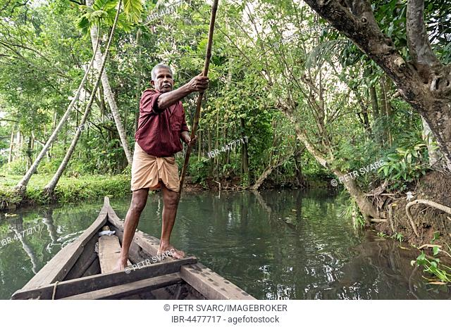Boatman with punting pole on river, Backwaters, Kerala, India