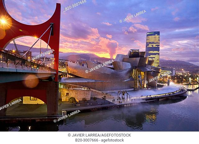 Nervion River and La Salve bridge, Guggenheim Museum, Bilbao, Bizkaia, Basque Country, Spain, Europe