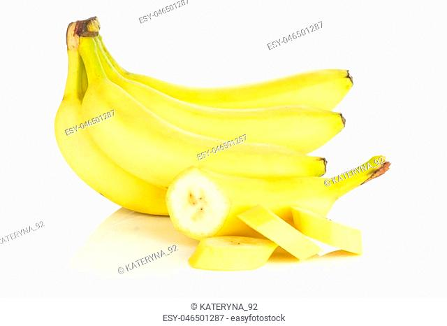 Group of lot of whole one half three slices of fresh yellow banana isolated on white background