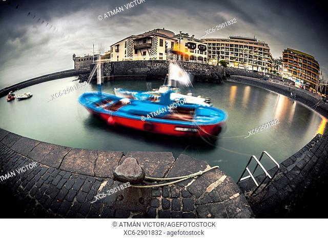 Fisheye view of Puerto de la Cruz dock, Tenerife, Canary Islands, Spain