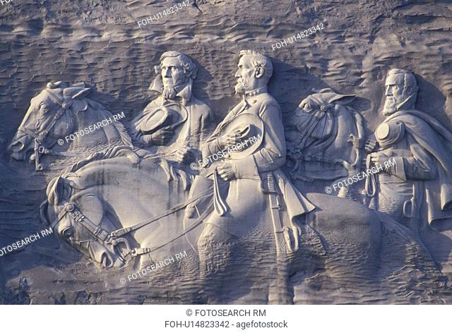 carving, Confederate Memorial Carving, Stone Mountain, Atlanta, GA, Georgia, The Confederate Memorial Carving of President Jefferson Davis