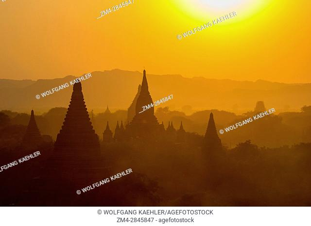 View of the sunset from the Shwesandaw Pagoda in Bagan in Myanmar