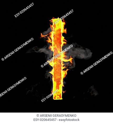 Burning and flame font L letter