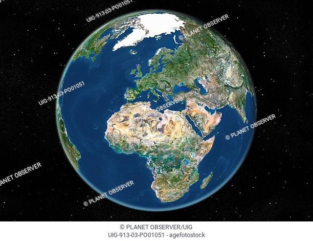 Globe Centred On Europe And Africa, True Colour Satellite Image. True colour satellite image of the Earth centred on Europe and Africa