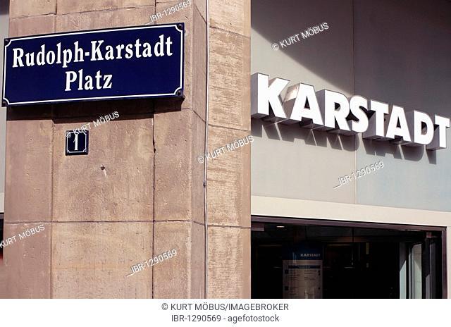 Rudolph-Karstadt-Platz 1, headquarters of Karstadt AG in the Hanseatic city of Wismar, UNESCO World Heritage Site, Mecklenburg-Western Pomerania, Germany
