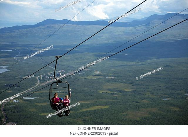 Ski lift over landscape