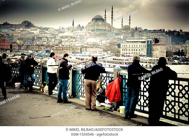 Anglers in Galata Bridge  Istanbul, Turkey