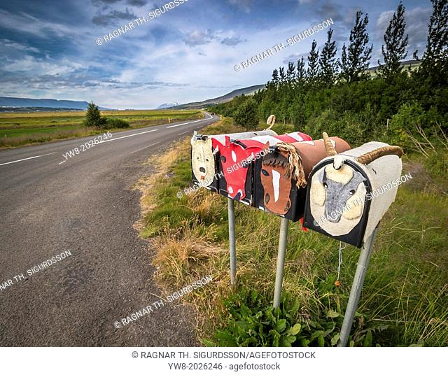Decorated mailboxes, Eyjafjordur, Iceland