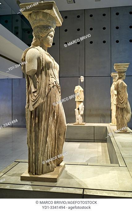 Athens Greece. The Acropolis Museum caryatids