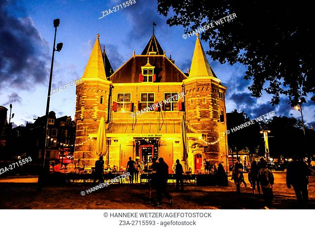 The Waag at night, Amsterdam, the Netherlands
