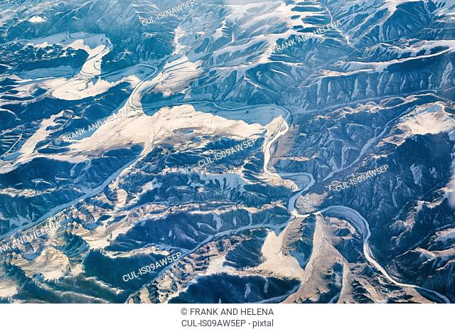 Aerial view of snow capped mountain range, Mongolia