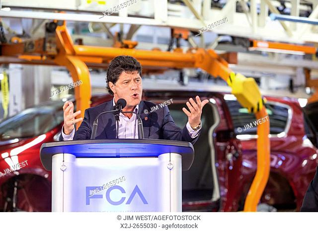 Windsor, Ontario Canada - Jerry Dias, president of Unifor, the union which represents Canadian auto workers, speaks at Fiat Chrysler Automobiles' Windsor...