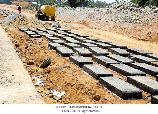 Cement slabs, kerala, india, asia