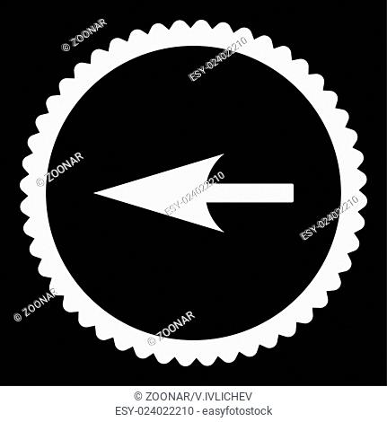 Sharp Left Arrow flat white color round stamp icon