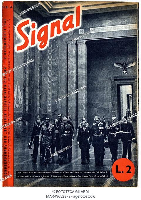 SECONDA GUERRA MONDIALE Italia-Germania. -Il patto delle tre potenze è firmato: Ribbentrop, Ciano e Kurusu lasciano la cancelleria del Reich-