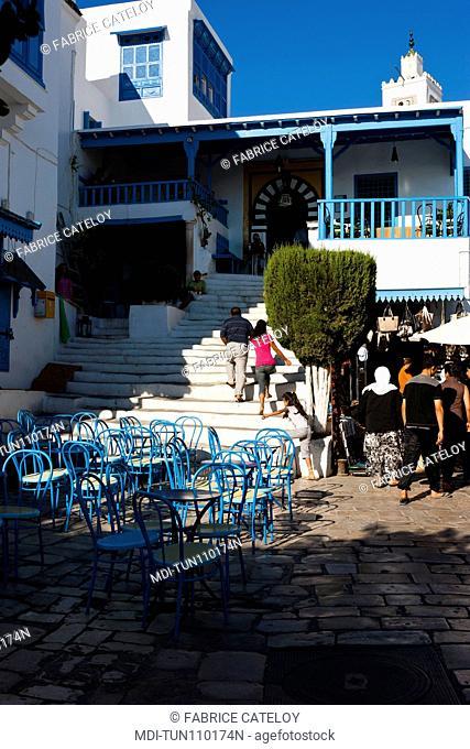 Tunisia - Sidi Bou Said - Terrace of a cafe in the village