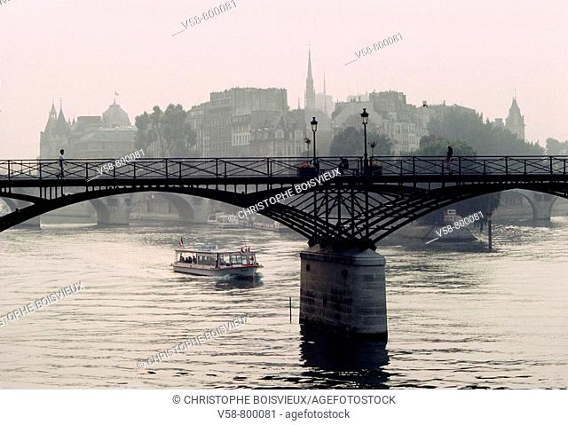 The Pont des Arts and the Cité island, Paris, France