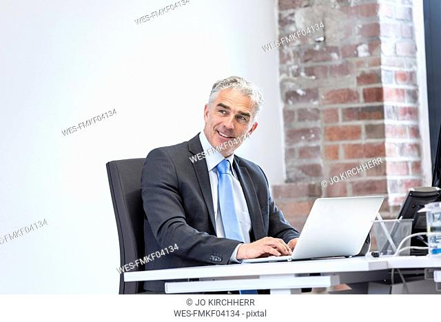 Mature businessman sitting in office, smiling