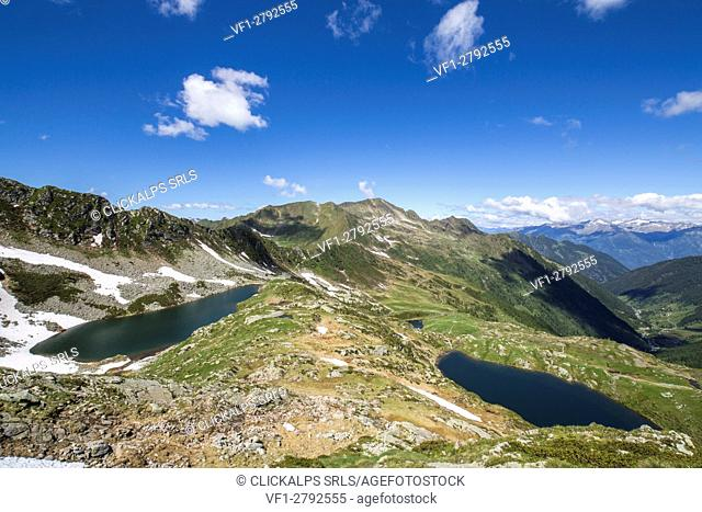 Summer view of Lakes Porcile and Tartano Valley Orobie Alps Lombardy Italy Europe