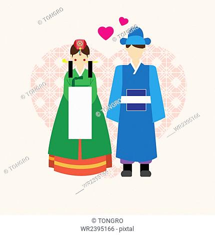 Korean traditional wedding in illustration