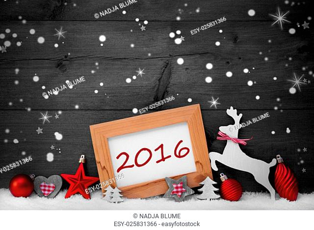 Gray Christmas Card With Picture Frame On White Snow, Snowflakes And Sparkling Stars, Text 2016. Red Christmas Decoration Like Balls, Tree And Reindeer