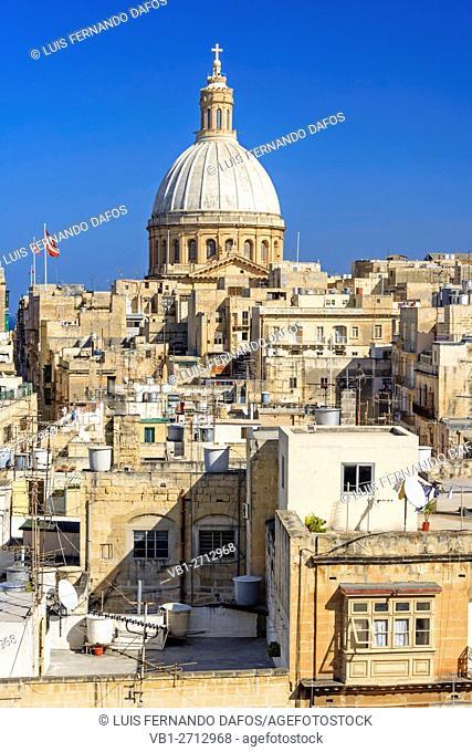 City overview with dome of Carmelite church. Valletta, Malta