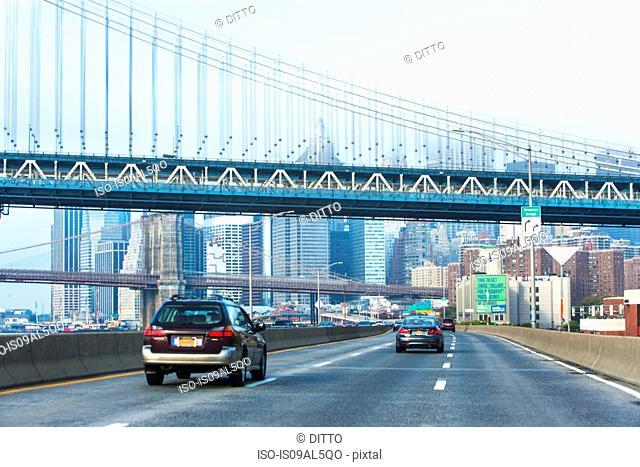 Highway with Manhattan and Brooklyn Bridges, Lower Manhattan, New York, USA