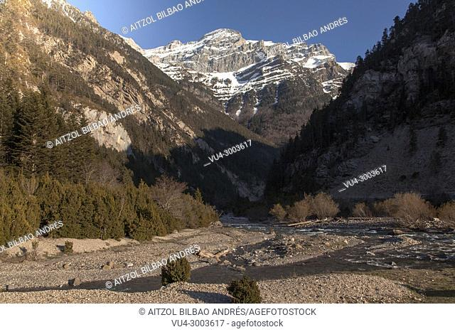 Spring at Bujaruelo valley, Pyrenees, spain. Snow has started melting and the mountains look so beautiful in this small valley